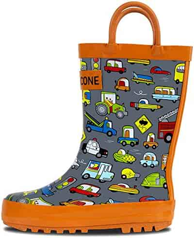 LONECONE Rain Boots with Easy-On Handles in Fun Patterns for Toddlers and Kids, Rush Hour, Little Kid 12
