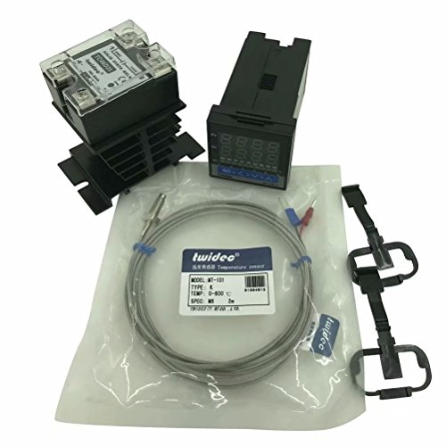 Twidec MT100-2 PID Temperature controller, 90-240VAC, 0-400 °C, Input: K, Output: SSR(DC12V);K screw probe, probe lead length 2M(78.74 inches);TC48D25 SSR 25A;Black heat sink by twidec