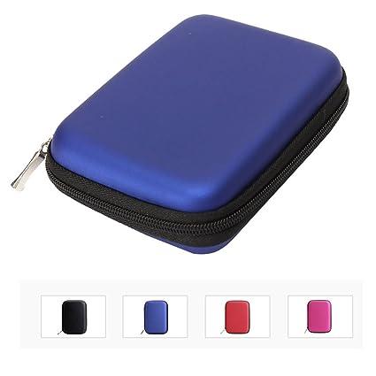 IHRKleid, estuche multi-función, bolsa, funda, carcasa rígida para discos duros externos portátiles de 6,4 cm, contra golpes y agua. negro azul medium