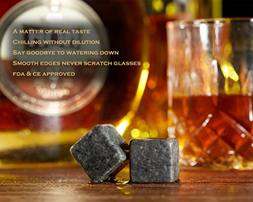 iiiMY Whiskey Stones and Glasses Gift Set, Whiskey Rocks Chilling Stones in Premium Handmade Wooden Box¨C Cool Drinks without Dilution ¨C Whiskey Glasses Set of 2, Gift for Dad, Husband, Men by iiiMY (Image #4)