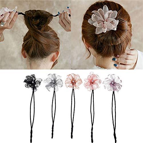 Anbibo Magic Hair Bun Maker,5pcs Pearl Flower Donuts Twist Headband French Bud Headwear DIY Hairstyle Tool