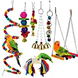 Bird Chew Toys for Parrots, 7 Pack Pet Bird Swing Perch Cage Toy with Bells for Parakeet Love Birds Conure Cockatoo Cockatiel Finches Lorikeets Macaw, Wood Parrot Toy for Medium Small Parrots