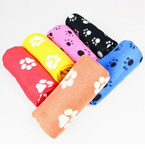 VNDEFUL 1Pack Fleece Blankets Pet Sleep Mat Pad Bed Cover with Paw Print Soft Blanket for Kitties Puppies and Other Small Animals -