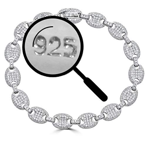 - Solid 925 Sterling Silver Iced Out Puffed Mariner Link Bracelet - 8mm Link - ICY Bust Down for Men Or Women (8)