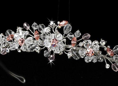 Sascha Swarovski Crystal Pink Quinceanera, Sweet 16, Wedding Bridal Tiara