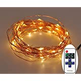 Dimmable christmas LED Starry String Lights -120 LEDs 40 Foot Copper Wire Lights-Warm White
