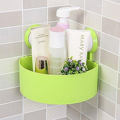DCAE Cuisine Salle de bain en plastique triangle de rangement Organiser Étagère de douche d'angle mural panier Caddy avec ventouse,Vert