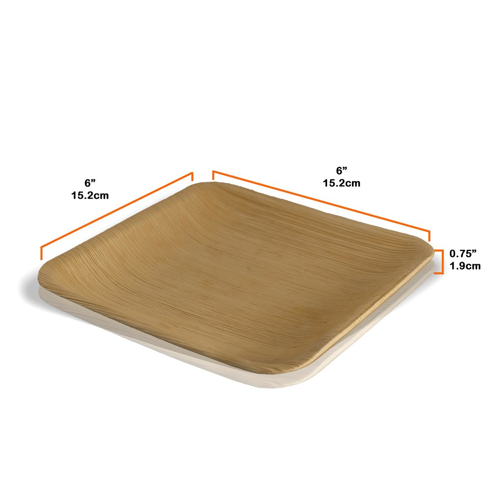 6'' Square Disposable Palm Leaf Paper Plates: Compostable, Biodegradable Heavy Duty Dinner Party Plate - Comparable to Bamboo Wood - Elegant Plant Based Dishware: (25 Pack) by Naturally Chic Dinnerware (Image #4)