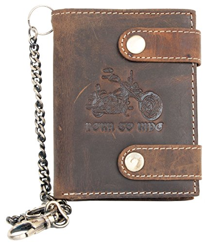 Men's Natural Genuine Leather Wallet Born to Ride with Metal Chain with Motorbike