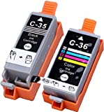 2 Pack Compatible CLI-36 , PGI-35 1 Tri Color, 1 Black for use with PIXMA iP100l, PIXMA mini260, PIXMA mini320, RFB IP100. Ink Cartridges for inkjet printers. CLI-36-C / 1511B002 , PGI-35-BK / 1509B002 Blake Printing Supply