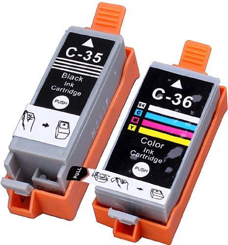 2 Pack Compatible CLI-36 , PGI-35 1 Tri Color, 1 Black for use with PIXMA iP100l, PIXMA mini260, PIXMA mini320, RFB IP100. Ink Cartridges for inkjet printers. CLI-36-C / 1511B002 , PGI-35-BK / 1509B002 Blake Printing (Pgi 35 Black Cartridge)