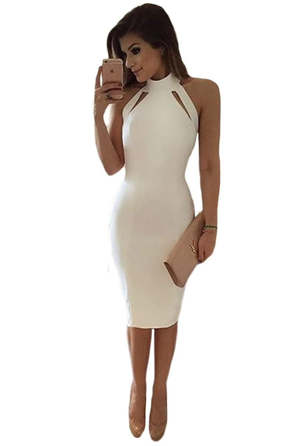 Firstshop Women's Sexy Beautiful White Cutout Detail High Neck Mid Dress