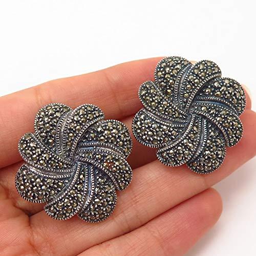 (925 Sterling Silver Vintage Judith Jack Real Marcasite Swirl Design Earrings )