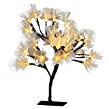 MHOLFB LED Cherry Blossom Tree Light Lamp Artificial Branches Fiber Optic Flowerers Desk Bonsai lamp Decoration for Home Indoor Festival Party Wedding Christmas 0.4M/15.75 Inch 40 Bulbs (Warm White)
