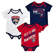 NHL Florida Panthers Newborn & Infant Power Play Onesie Set (3 Pack), 3-6 Months, White