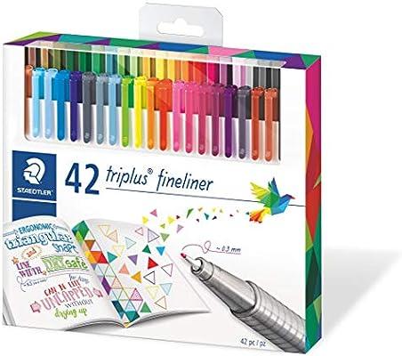 STAEDTLER 334 C42, Rotuladores de colores brillantes de punta fina multicolor Triplus Fineliner, Punta revestida de metal, ergonómico, lavable, Pack de 42 marcadores: Amazon.es: Oficina y papelería