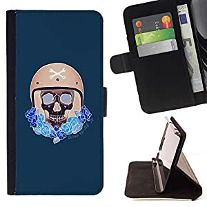 Momo Phone Case / Flip Funda de Cuero Case Cover - Conductor compite con el casco del motorista del coche azul - Apple Iphone 6