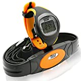 Pyle Fitness Tracker Watch with Heart Rate Monitor, Black/Orange