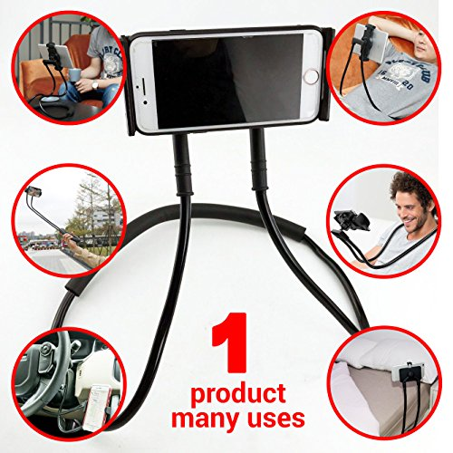 NYO Hang-On-Neck Cell Phone Mount Holder: Adjustable Universal Smartphone Stand with Expandable Bracket, 360 Degree Rotation, and Multiple Functions