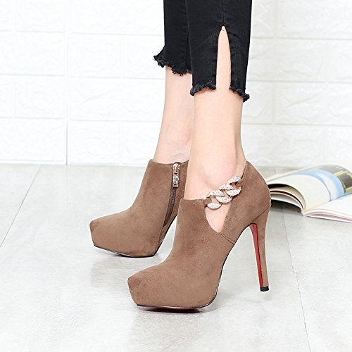KHSKX-Temperament Femininity Waterproof Table High Heels Single Shoes Pointed Bare Boots Coffee Color Thirty-eight KBMywlSzO