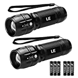 LE CREE LED Adjustable Focus Mini Tactical Flashlight Torch, Zoomable, Small Flashlight, Super Bright, Batteries Included (2 packs)