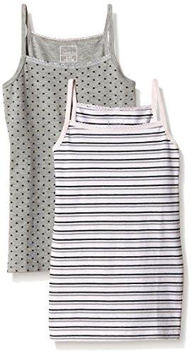 NAME IT Baby-Mädchen Unterhemd NITSTRAP TOP K G NOOS, 2er Pack, Gr. 128 (Herstellergröße: 122-128), Mehrfarbig (Grey Melange)