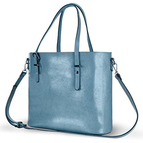 Shoulder Bag Tote Messenger - Women Top Handle Satchel Handbags Shoulder Bag Messenger Tote Bag Purse IUKIO (Light Blue)