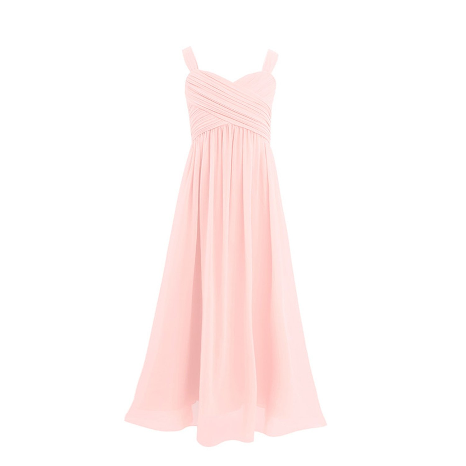 Princess Girls Chiffon Pleated Wide Shoulder Straps Flower Girl Dress Ruched Wedding Party Dress,Pearl Pink,Child-4