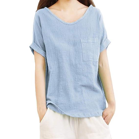 ae9f4df3b Luckycat Camisetas Mangas Corta Mujer Camisa De Lino Top Casual De Mujer  Blusa Suelta Solida Mujer
