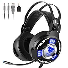 Kekilo 3.5mm Gaming Headset with Mic for Xbox One, PS4, PC - Surround Sound, Noise Reduction Game Headphone with LED Light and Easy Volume Control Earphone for PlayStation 4 Laptop Tablet Smartphone