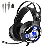 Kekilo Gaming Headset with Mic for Xbox One PS4 PC - 3.5mm Surround Sound, Noise Reduction Game Headphone with LED Light for Nintendo Switch, Laptop, Tablet, Smartphone
