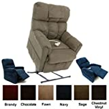 Mega Motion Lift Chair Easy Comfort Recliner LC-362 3 Position Rising Electric Power Chaise Lounger up to 375lbs - Emergency Battery Backup - Chestnut Vinyl + Inside the Home Delivery, Setup and Box Removal