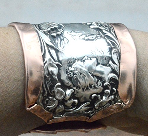 antique-fosters-and-baileylady-face-floral-repousse-sterling-silver-925-copper-cuff-bracelet-rustica