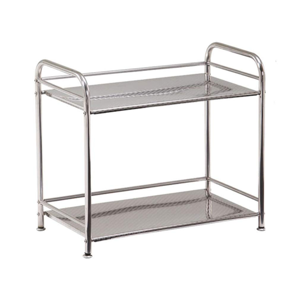 Microwave Oven Rack Multi-Function 2 Layer 304 Stainless Steel Storage Storage Rack Dish Rack Suitable for Kitchen Balcony Bathroom Storage Length 60cm