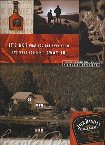 MAGAZINE AD For 1999 Jack Daniels Single Barrel Mountain Cabin Scene