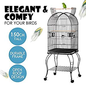 Yaheetech 150CM Bird Cage Parrot Aviary Pet Stand Budgie Perch with Wheels