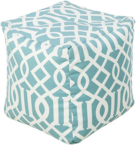 """Surya POUF-112 Hand Made 100% Polyester Aqua 18"""" CUBE Pouf from Surya"""
