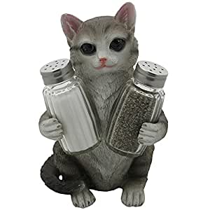 Gray Kitty Cat Glass Salt and Pepper Shakers with Holder Sculpture in Pet Figurines & Statues and Decorative Kitten Bar or Dining Room Table Decor Gifts for Pet Owners