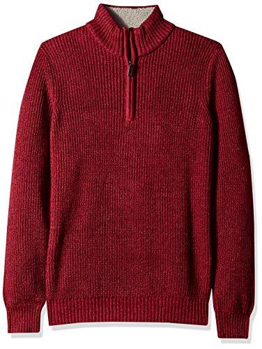 (IZOD Men's Shaker Quarter Zip 7 Gauge Ribbed Sweater, Biking red, X-Large)