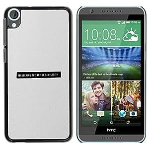 TopCaseStore / la caja del caucho duro de la cubierta de protección de la piel - Minimalist Simplicity Black Text Grey Print - HTC Desire 820