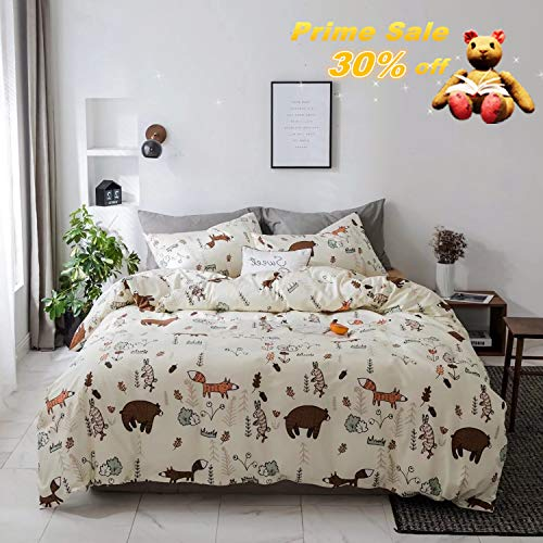 (Jumeey Duvet Cover Set Queen Animal Print Brown Bear Bedding Sets for Child Teen Boys,Premium Reversible Rabbit Fox Forest Duvet Cover with Zipper Closure,Breathable,Soft,Cute,NO Comforter)