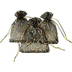 Ankirol 100pcs Sheer Organza Bag Eyelash Print Wedding Favor Bags 3.5x4.5'' Luxury Jewelry Candy Gift Card Bags With Gold Line Drawstring Pouches (black)