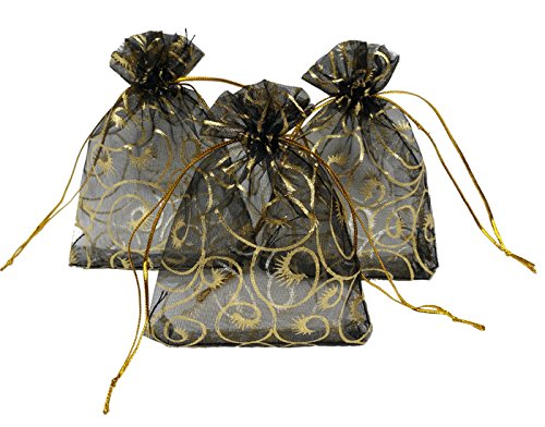 Ankirol 100pcs Sheer Organza Bag Eyelash Print Wedding Favor Bags 3.5x4.5'' Luxury Jewelry Candy Gift Card Bags With Gold Line Drawstring Pouches (Black And Gold Party Favors)