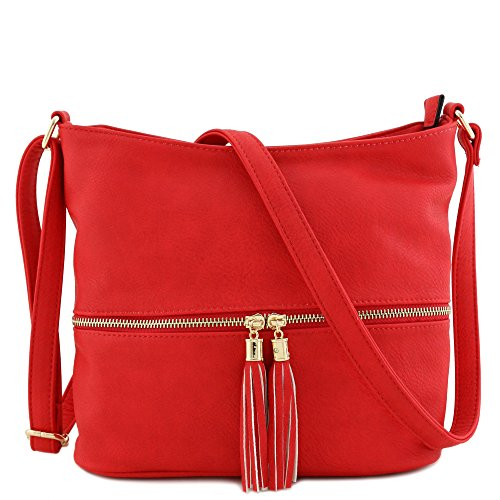(Tassel Zipper Bucket Crossbody Bag (Chilli Red))
