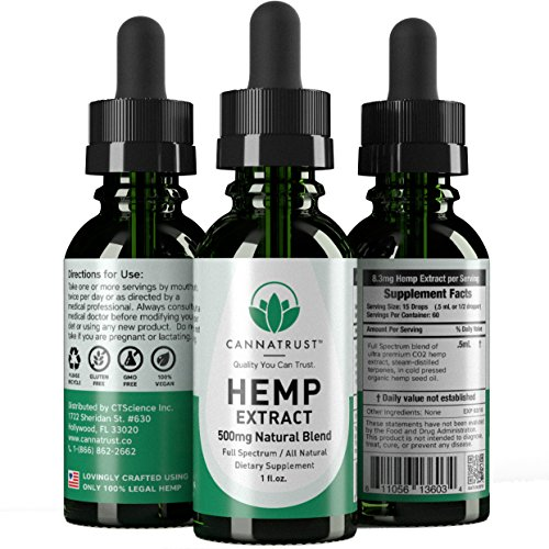 CannaTrust Full Spectrum Hemp Extract Oil - All Natural Blend - for Pain, Anxiety and Inflammation - 500mg Ultra Pure - Sleep Better - Reduce Stress - Restore Balance - 1oz by CannaTrust (Image #1)