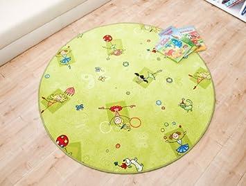 Kinderteppich grün rund  Mädchen Kinderteppich Princess Grün rund - Spielteppich nach Maß ...