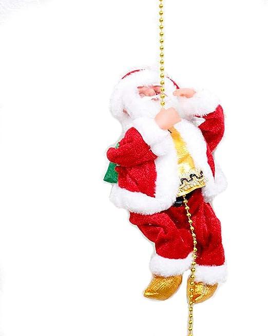 JUNMAONO Santa Claus Cuerda de Escalada Juguete eléctrico de Felpa Escalera de Cuerda Subir en la Escalera de Cuerda Fiesta de Navidad de la Navidad decoración al Aire Libre de muñeca casera: