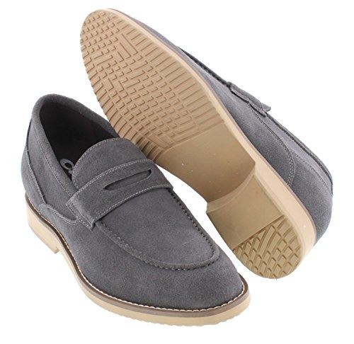 Calto T66082-2.8 Pouces Taller - Hauteur Augmentant Chaussures Dascenseur - Nubuck Gris Chaussures Casaul Slip-on