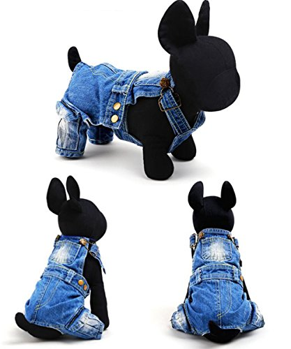 Puppy Jeans (YOUDirect Pet Clothes - Dog Cat Coverall Jeans Puppy Apparel Rompers Jeans Pants with Strap Jumpsuit Apparel for Bichon Poodle, Blue (Medium(Chest Girth:18.2