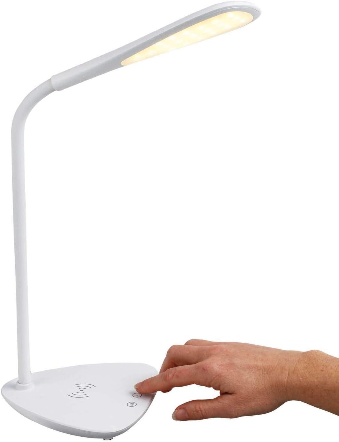 Jsx Nachttischlampe mit USB-Ladeanschluss White Linen Stoffe und Metall-Tischlampe Wireless-Ladeger/ät und Steckdose